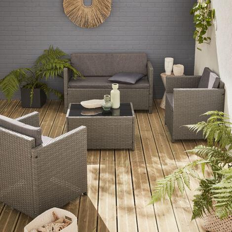 Muebles de jardin, Rattan sintetico, Gris Gris, 4 plazas | Perugia ...