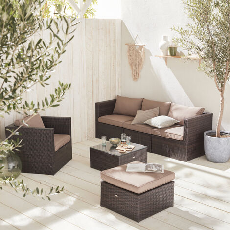 Muebles De Jardin Rattan Sintetico Marron Marron 5 Plazas