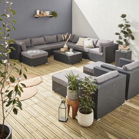 Muebles de jardin, Rattan sintetico, Negro Gris, 12 14 plazas, | Tripoli