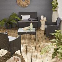 Muebles de jardin, Rattan sintetico, Negro gris, 4 plazas | Moltes