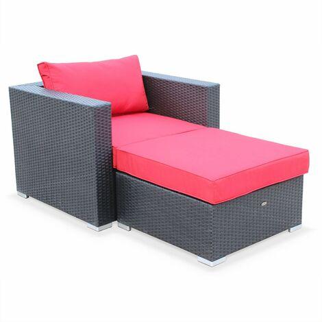 Muebles de jardin, Rattan sintetico, Negro Rojo, 1 plaza | Genova