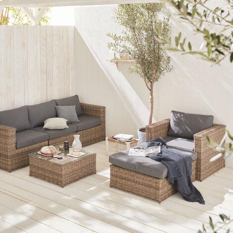 muebles de jard n resina trenzada redonda natural On muebles de jardin resina trenzada balanza