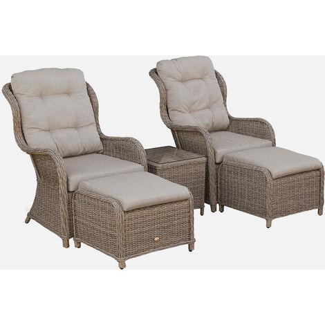 Muebles de jardín, Resina trenzada redonda, Natural Cojines Gris Antracita, 2 plazas | Barletta