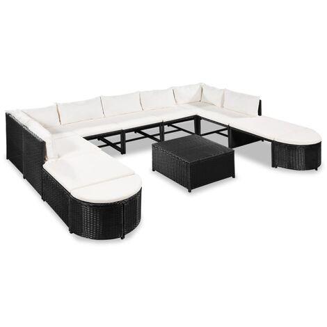 Muebles de jardín y cojines 12 piezas ratán sintético negro