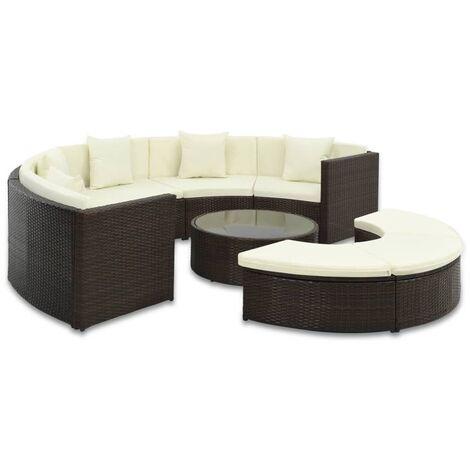 Muebles de jardín y cojines 7 piezas ratán sintético marrón