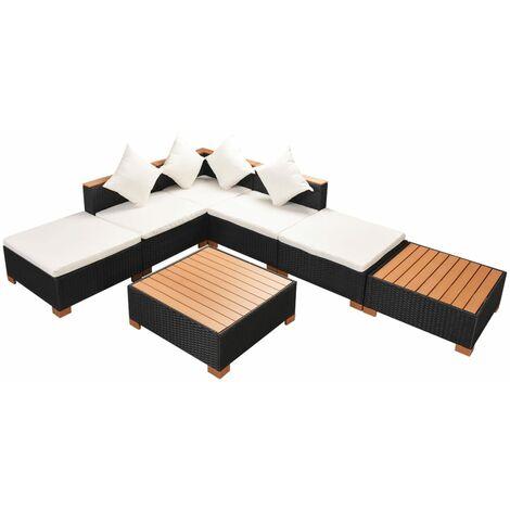Muebles de jardín y cojines 7 piezas ratán sintético negro