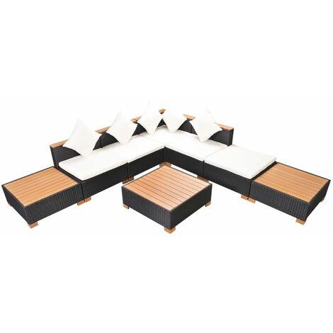 Muebles de jardín y cojines 8 piezas ratán sintético negro