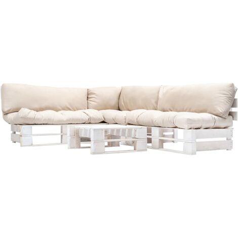 Muebles de palés de jardín cojines arena 4 piezas madera