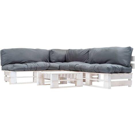 Muebles de palés de jardín cojines grises 4 piezas madera