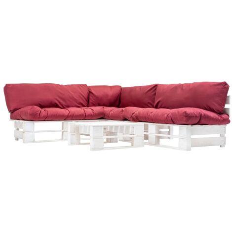Muebles de palés de jardín cojines rojos 4 piezas madera