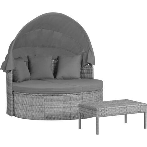 Muebles jardín 3 pzas cojines y almohadas ratán sintético gris