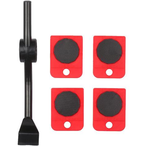 Muebles pesada en movimiento Kit Easy Mover Appliance rodillo elevador en movimiento con sistema de 4 ruedas deslizantes levantador Kit para mover Sofa Gabinete Tabla 180 grados cabeza ajustable de Palanca