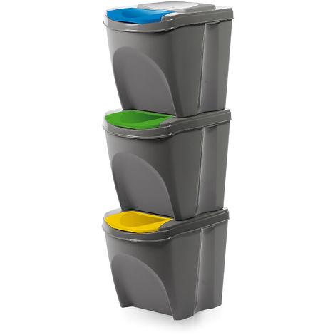 Mülleimer 3 teilig modulares Mülltrennsystem Biomülleimer Abfalleimer Grau