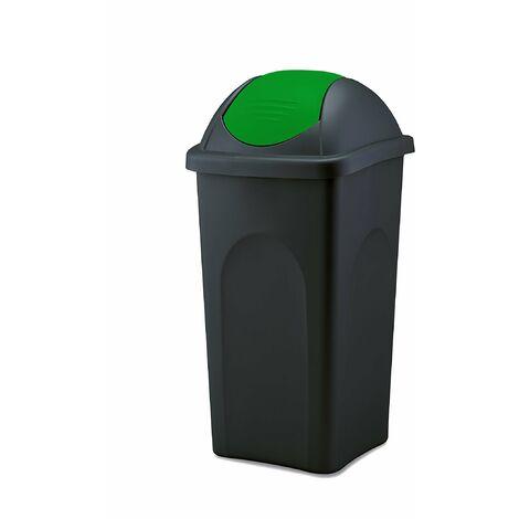 Mülleimer 30 L groß - schwarz mit grünem Schwingdeckel - aus hochwertigem Kunststoff - Müllsammler Abfalleimer Mülltonne Abfallbehälter - Küche Büro