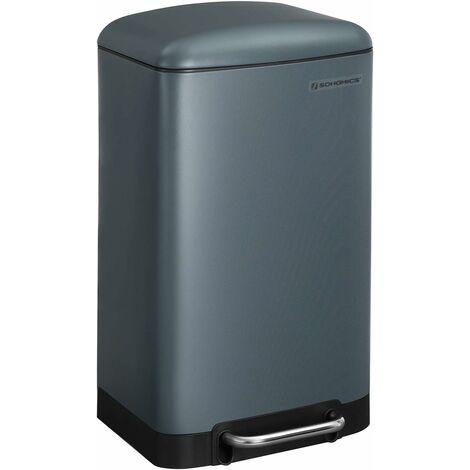 Mülleimer, 30 Liter Abfalleimer, Treteimer aus Stahl, mit Inneneimer und Deckel, Softclose, luftdicht, für Küche, Wohnzimmer, Rauchgrau LTB01GS