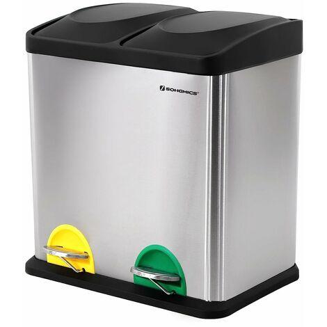 Mülleimer 30 Liter, Mülltrennung, 2 x 15 Liter, Abfalleimer, Treteimer mit Inneneimern, farbigen Pedalen, Mülltrennsystem für die Küche