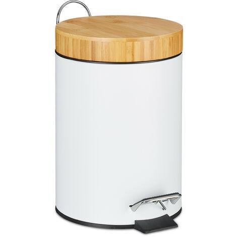 Mülleimer Bad 3 L, Bambusdeckel, Kosmetikeimer mit Absenkautomatik, entnehmbarer Inneneimer, Treteimer, weiß