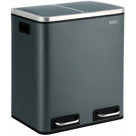 Mülleimer für die Küche, 30 L, Mülltrennung, Abfalleimer aus Metall, Treteimer mit Inneneimern und Griffen, Mülltrennsystem, 2 x 15 Liter, Softclose, luftdicht, rauchgrau LTB30GS