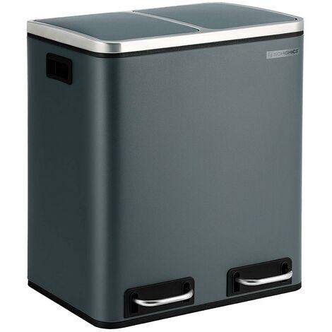 Mülleimer für die Küche, 30 L, Mülltrennung, Abfalleimer aus Metall, Treteimer mit Inneneimern und Griffen, Mülltrennsystem, 2 x 15 Liter, Softclose, luftdicht, rauchgrau LTB30GS - Rauchgrau