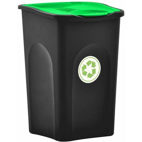Mülleimer mit Klappdeckel 50L Schwarz und Grün
