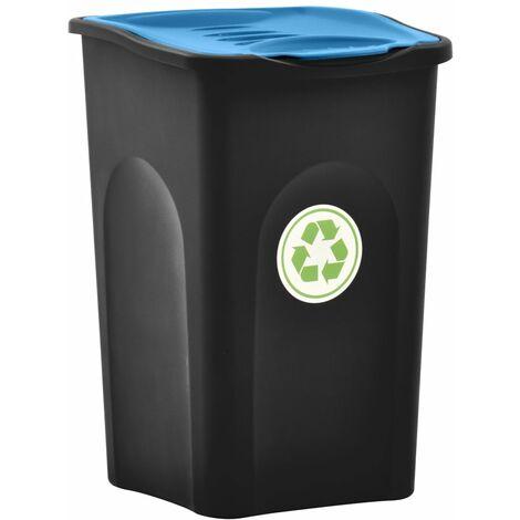Mülleimer mit Klappdeckel 50L Schwarz und Blau