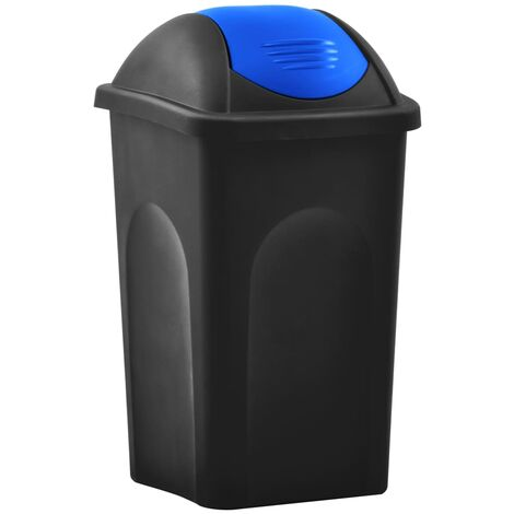Mülleimer mit Schwingdeckel 60L Schwarz und Blau