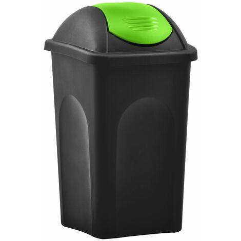 Mülleimer mit Schwingdeckel 60L Schwarz und Grün