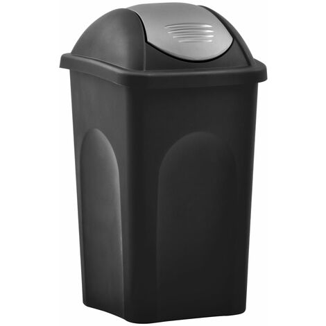 Mülleimer mit Schwingdeckel 60L Schwarz und Silbern
