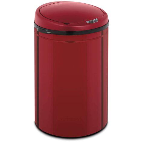 Mülleimer mit Sensor automatischer Abfalleimer 30 L Inneneimer Karbonstahl rot