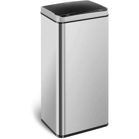Mülleimer mit Sensor automatischer Abfalleimer Edelstahl 2 Müllbeutel 80 L