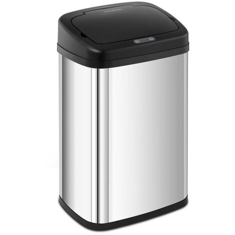 Mülleimer mit Sensor automatischer Abfalleimer Edelstahl Müllbeutel eckig 30 L