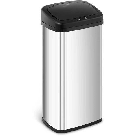 Mülleimer mit Sensor automatischer Abfalleimer Edelstahl Müllbeutel eckig 40 L