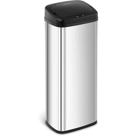 Mülleimer mit Sensor automatischer Abfalleimer Edelstahl Müllbeutel eckig 50 L