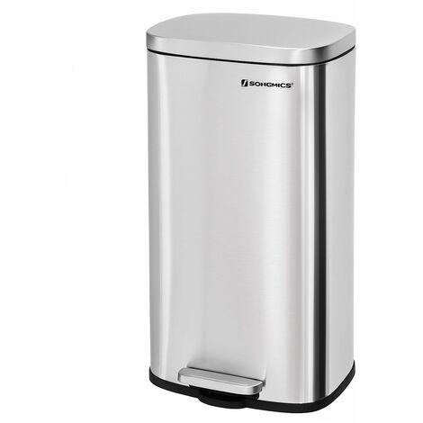 Mülleimer Treteimer für die Küche, Softclose, Abfalleimer mit Deckel und Inneneimer, 30L Abfallbehälter aus Edelstahl, geruchsdicht und hygienisch LTB03NL