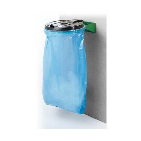 Müllsackhalter | Wandmontage | Beutelvolumen 120 l | Grün-Schwarz | Certeo