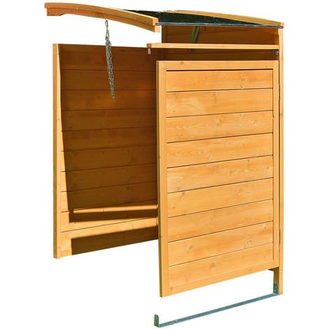 Mülltonnenbox braun Anbaubox Mülltonnenverkleidung Mülltonne 240L Mülltonnenhaus Gartenbox Gerätebox Gerätehaus Holz Anbau Gerätehaus