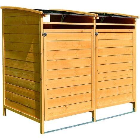 Mülltonnenbox braun Doppelbox Mülltonnenverkleidung Mülltonne 240L Mülltonnenhaus Gartenbox Gerätebox Gerätehaus Holz Anbau Gerätehaus