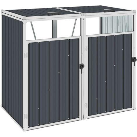 Mülltonnenbox für 2 Mülltonnen Anthrazit 143×81×121 cm Stahl