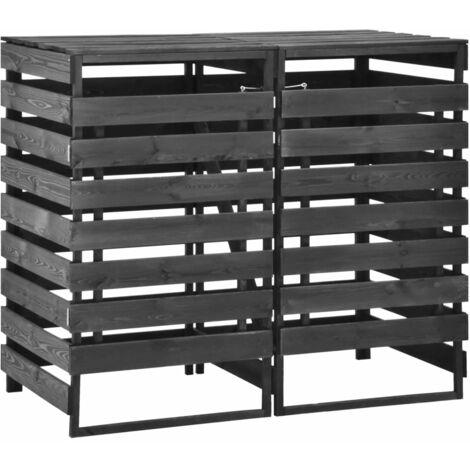 Mülltonnenbox für 2 Tonnen 140x75x121 cm Kiefer Massivholz