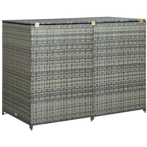 Mülltonnenbox für 2 Tonnen Poly Rattan Anthrazit 148×77×111 cm
