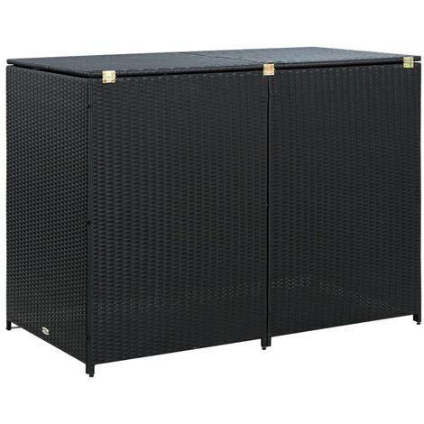 Mülltonnenbox für 2 Tonnen Poly Rattan Schwarz 148x80x111 cm
