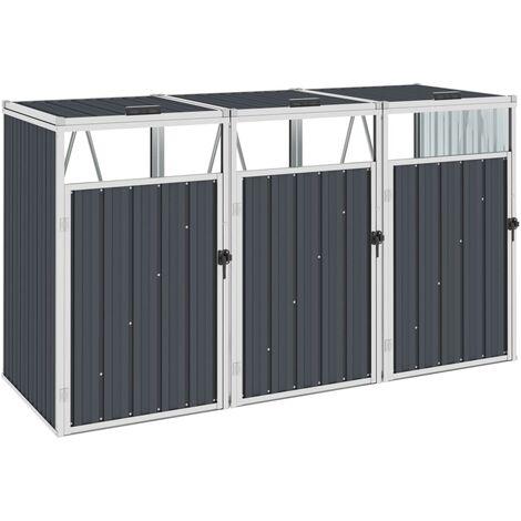 Mülltonnenbox für 3 Mülltonnen Anthrazit 213×81×121 cm Stahl