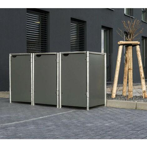 HIDE Hide Mülltonnenbox 140l Kunststoff; 3er Box grau 3er Box