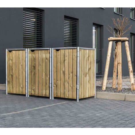 HIDE Hide Mülltonnenbox 140l Holz; 3er Box natur 3er Box