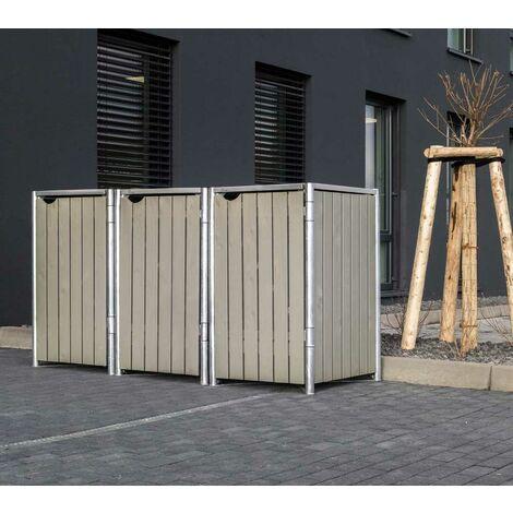 HIDE Hide Mülltonnenbox 240l Holz; 3er Box natur grau 3er Box