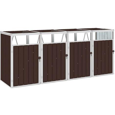 Mülltonnenbox für 4 Mülltonnen Braun 286×81×121 cm Stahl