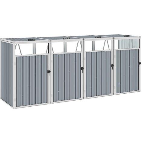 Mülltonnenbox für 4 Mülltonnen Grau 286×81×121 cm Stahl