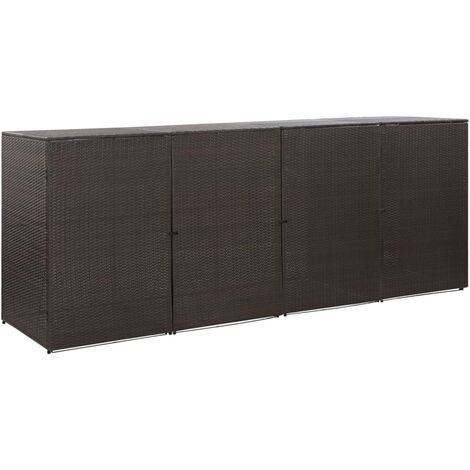 Mülltonnenbox für 4 Tonnen Braun 305 x 78 x 120 cm Poly Rattan