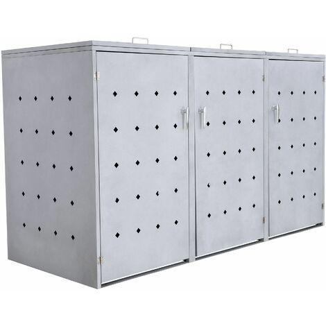 """Mülltonnenbox """"Rhombus Cement"""" mit Klappdeckel für 3 Tonnen"""