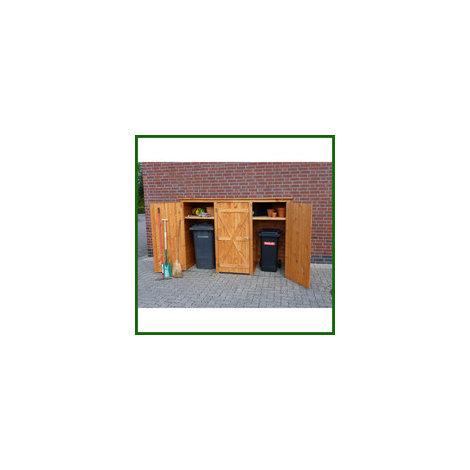 Mülltonnenschrank 3-türig honigbraun